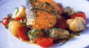 Salmon with small red potatoes